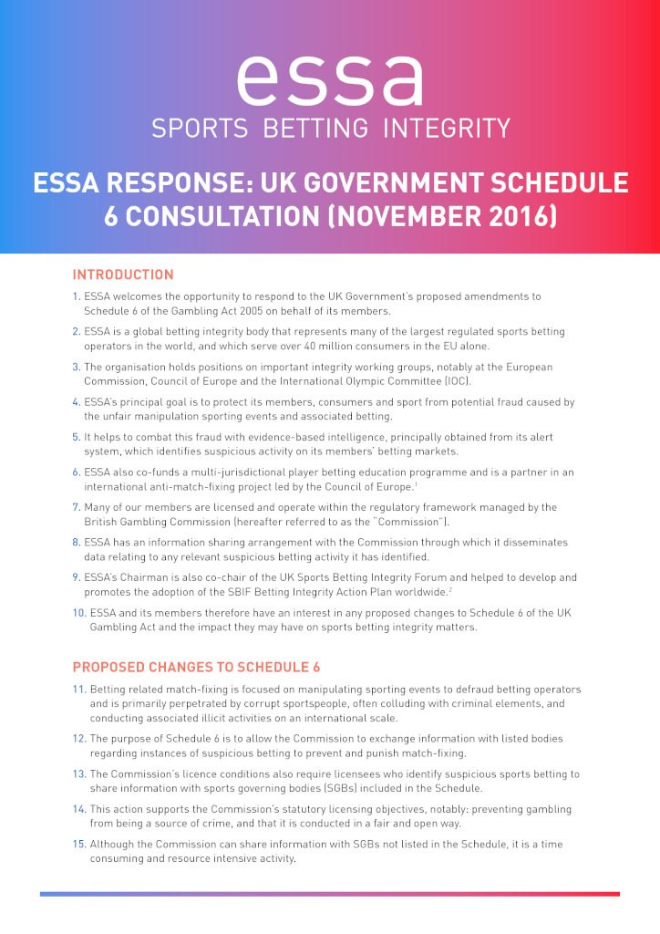 ESSA response to the UK Government Schedule 6 consultation (11/2016)