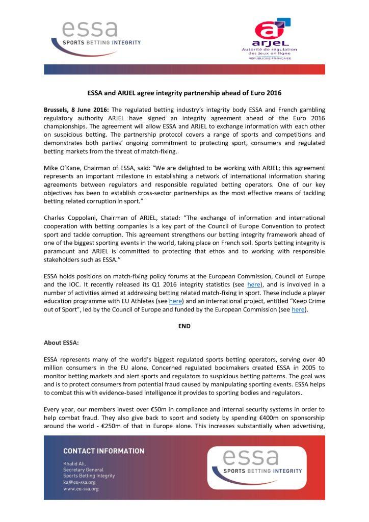 ESSA and ARJEL agree integrity partnership ahead of Euro 2016 – 08/06/2016