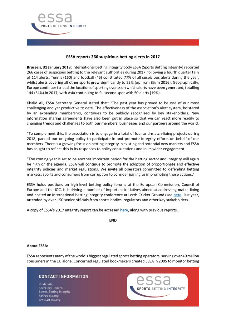 ESSA reports 266 suspicious betting alerts in 2017 – 31/01/2018