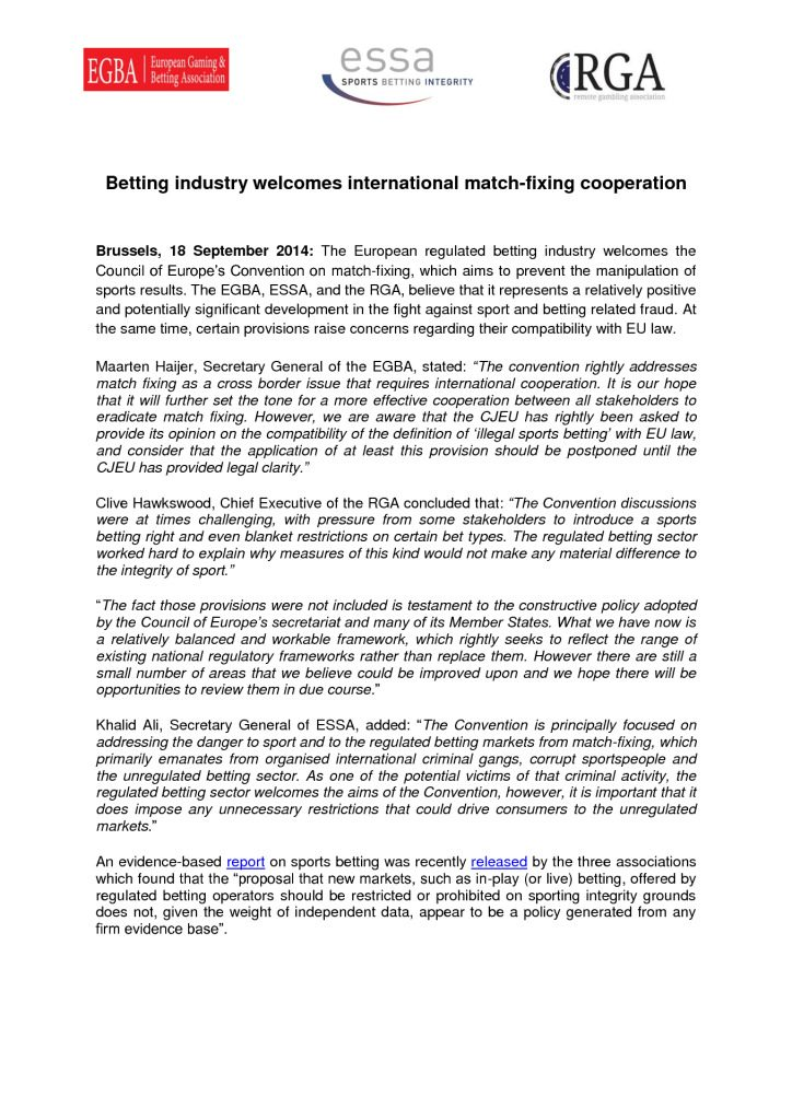 Betting industry welcomes MF cooperation – 18/09/2014