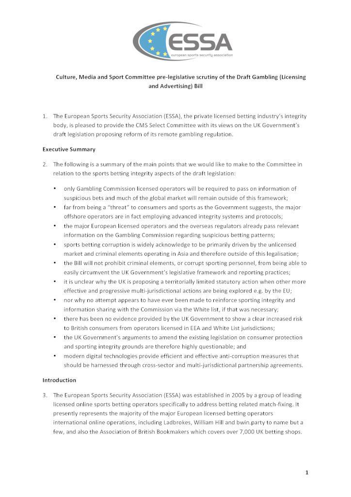 Culture, Media & Sport Committee pre-legislative scrutiny of the Draft Gambling Bill
