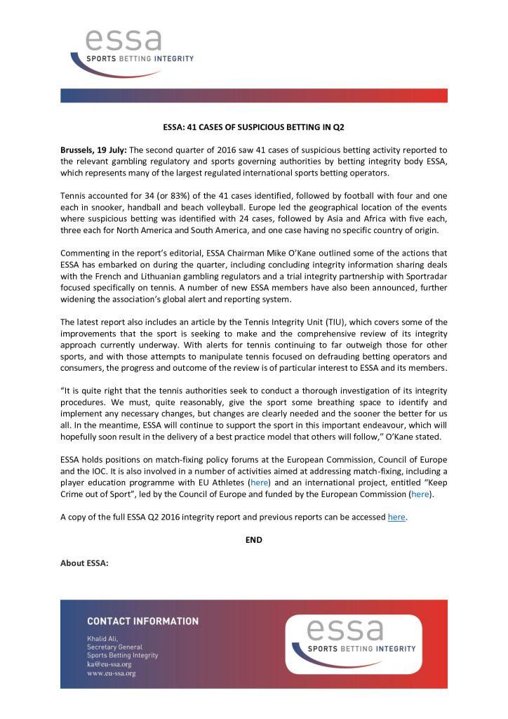 ESSA: 41 Cases of suspicious betting in Q2 – 19/07/2016