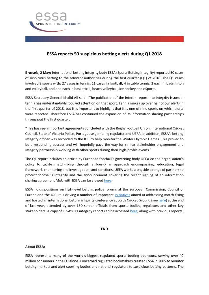 ESSA reports 50 suspicious betting alerts during Q1 2018 – 02/05/2018