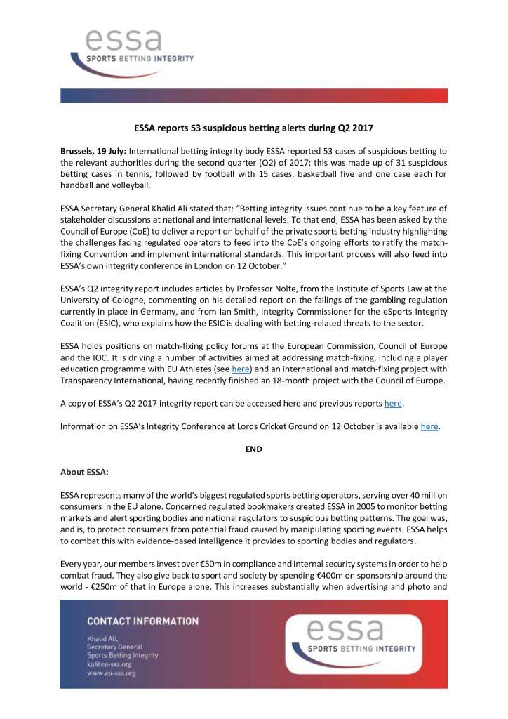 ESSA reports 53 suspicious betting alerts during Q2 2017 – 19/07/2017