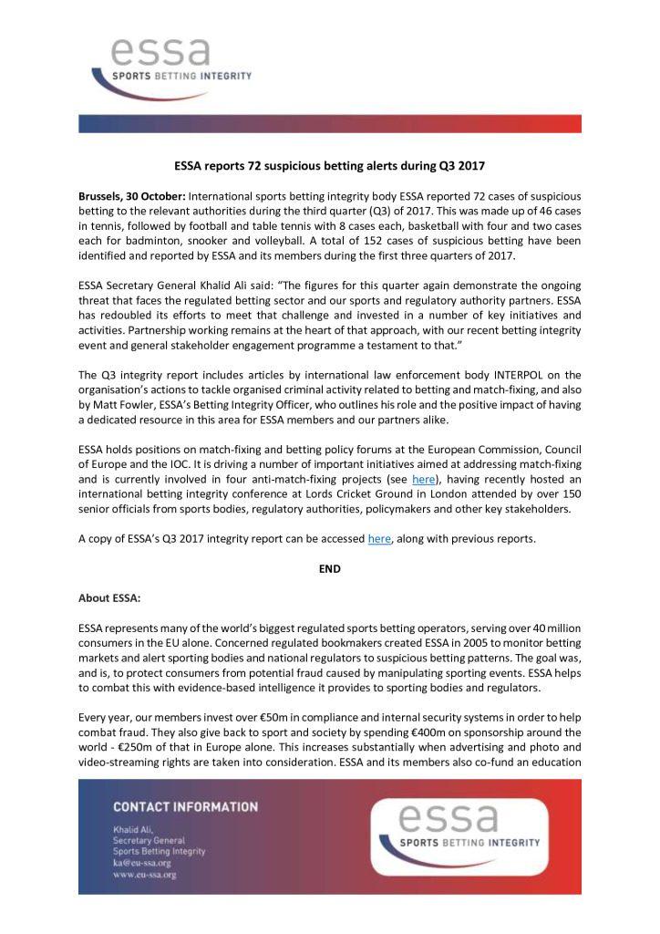 ESSA reports 72 suspicious betting alerts during Q3 2017 – 30/10/2017