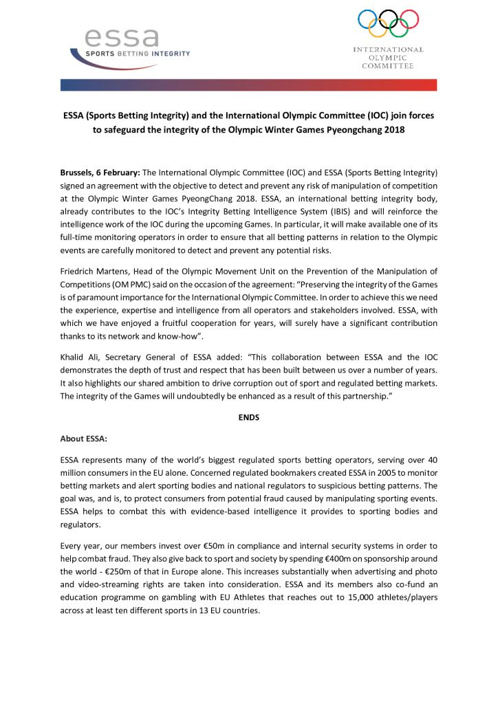 ESSA (Sports Betting Integrity) and the International Olympic Committee (IOC) join forces to safeguard the integrity of the Olympic Winter Games Pyeongchang 2018 – 06/02/2018
