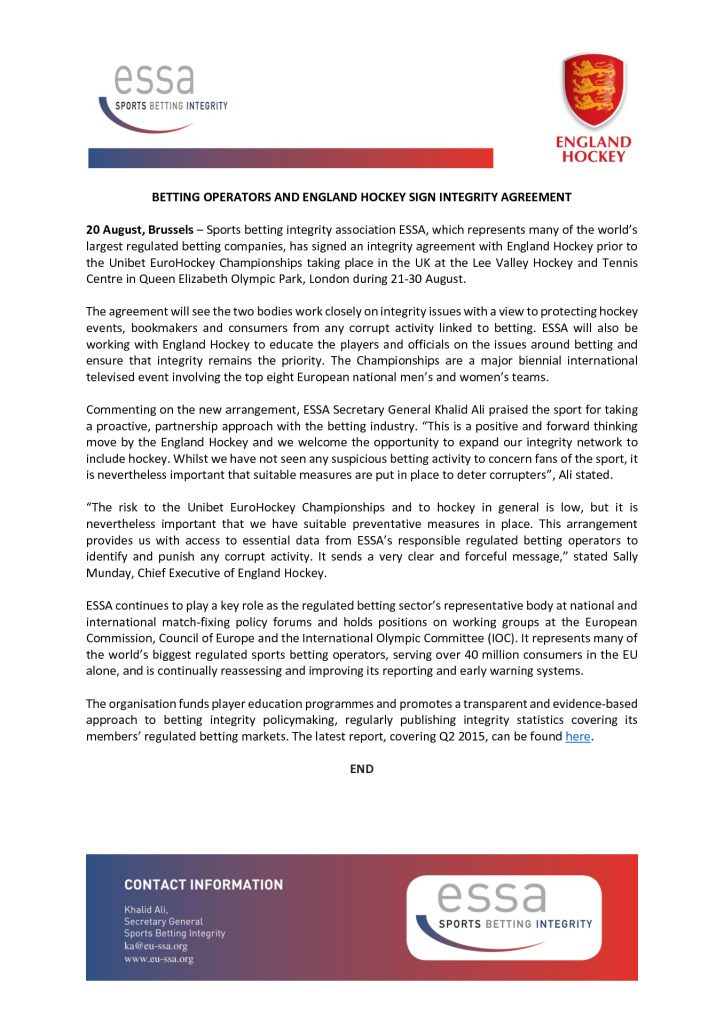 Betting Operators and England Hockey Sign Integrity Agreement – 20/08/2015