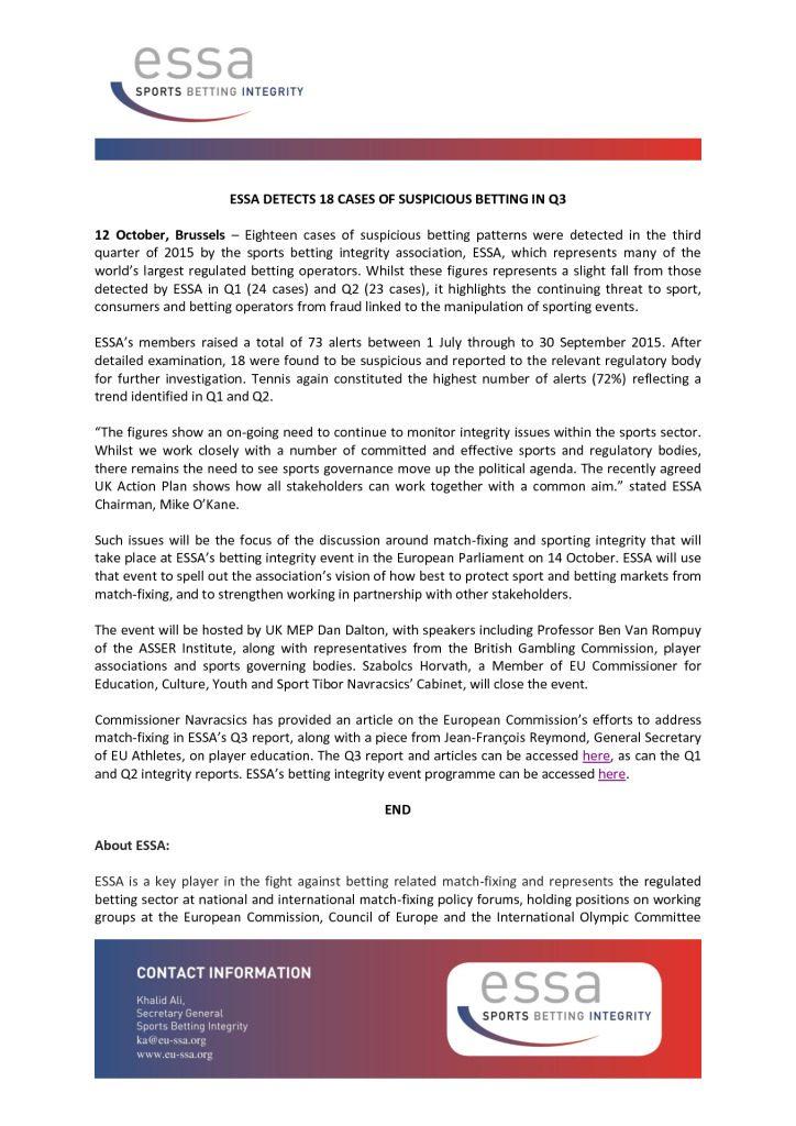 Essa Detects 18 Cases of Suspicious Betting in Q3 – 12/10/2015