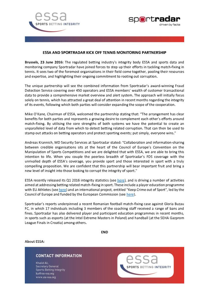 ESSA and Sportradar kick off tennis monitoring partnership – 23/06/2016