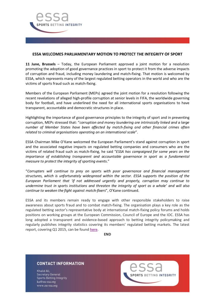 ESSA Welcomes Parliamentary Motion to Protect the Integrity of Sport – 11/06/2015