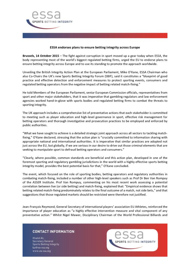 ESSA endorses plans to ensure betting integrity across Europe – 14/10/2015