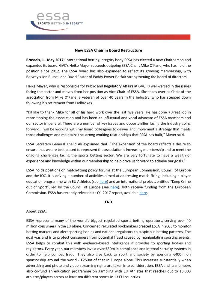 New ESSA Chair in Board Restructure – 11/05/2017