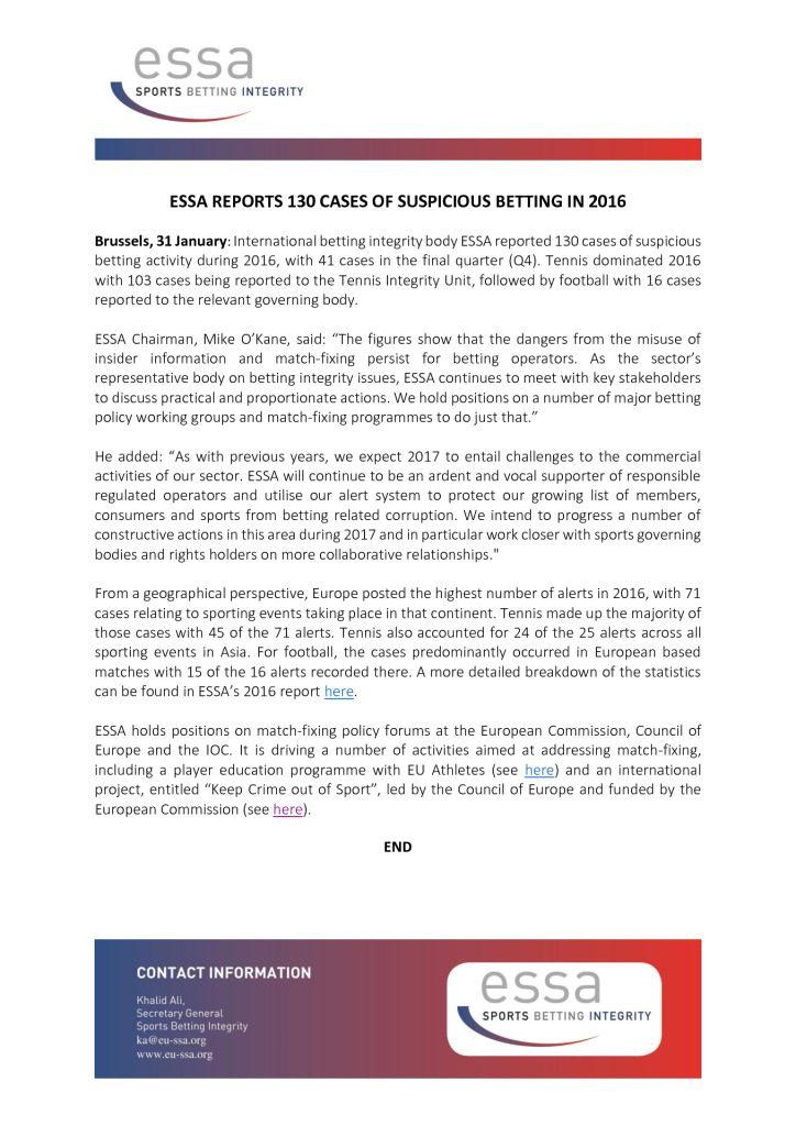 ESSA reports 130 cases of suspicious betting in 2016 – 31/01/2017