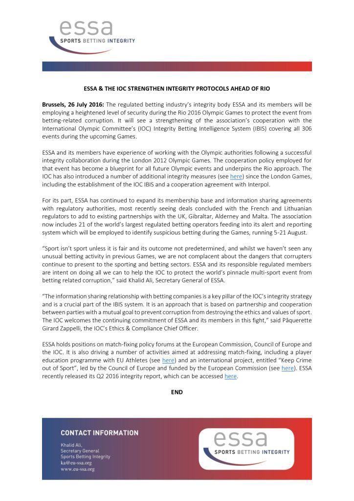 ESSA & the IOC strengthen integrity protocols ahead of Rio – 26/07/2016