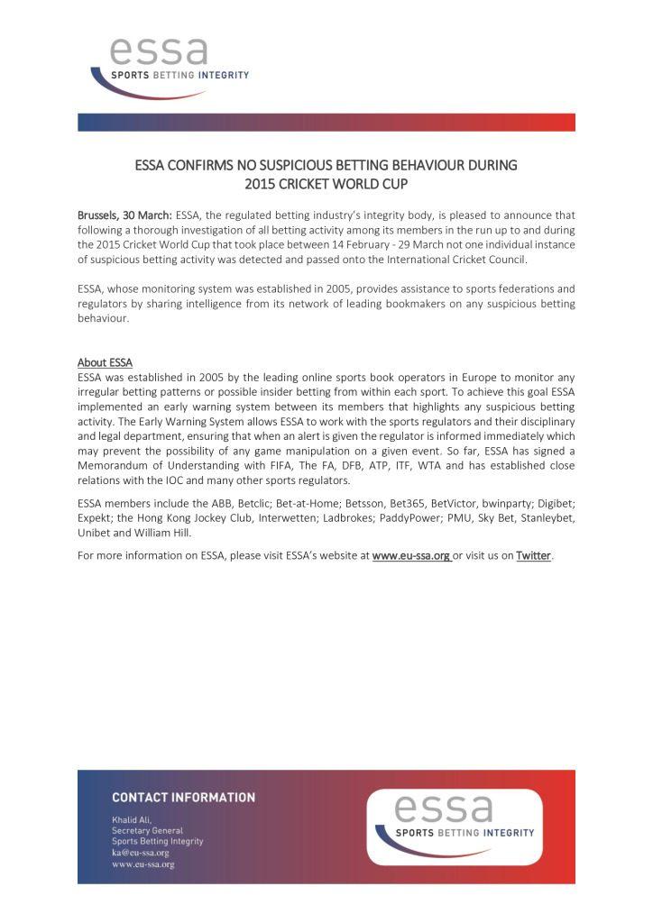 ESSA Confirms No Suspicious Betting Behaviour During 2015 Cricket World Cup – 30/03/2015