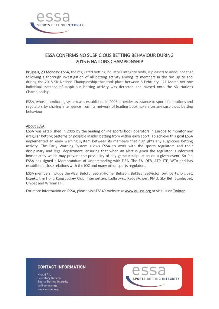ESSA Confirms no Suspicious Betting Behaviour During 2015 6 Nations Championship – 23/03/2015