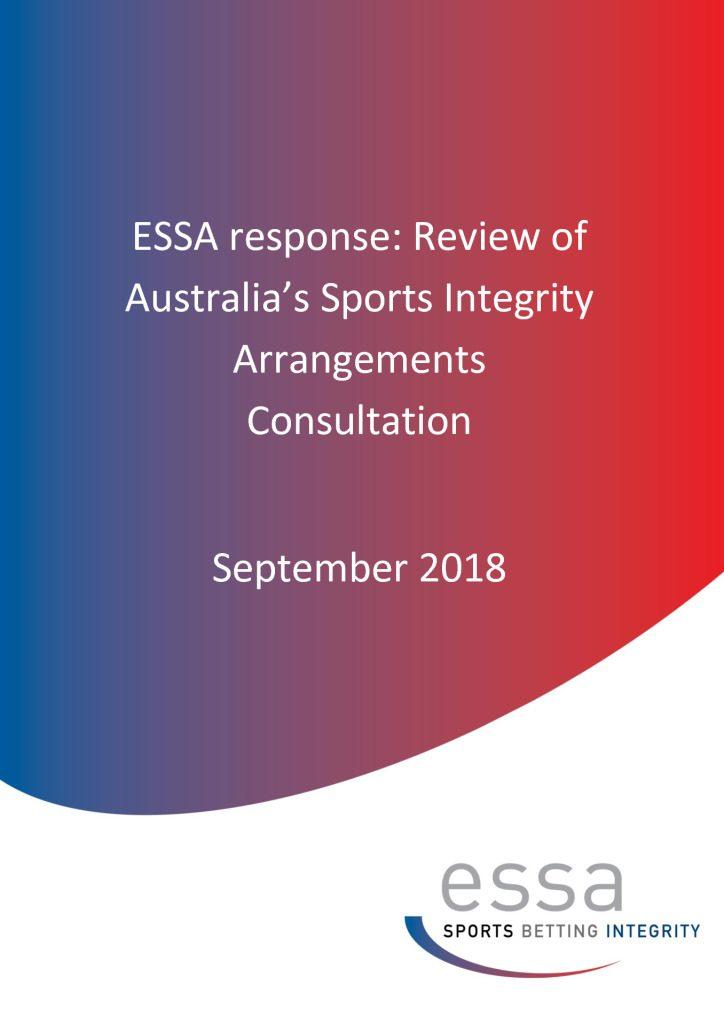 ESSA Response: Review of Australia's Sports Integrity Arrangements Consultation 9/2018