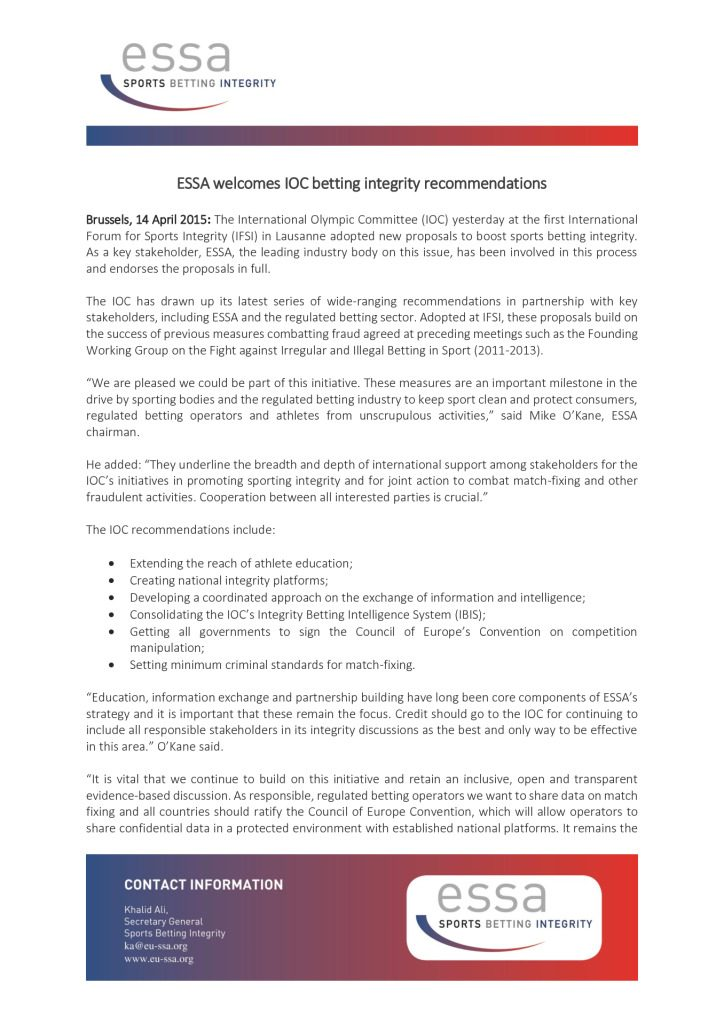 ESSA welcomes IOC betting integrity recommendations – 14/04/2015