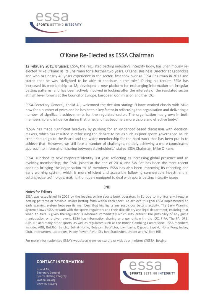 O'Kane Re-Elected as ESSA Chairman – 12/02/2015