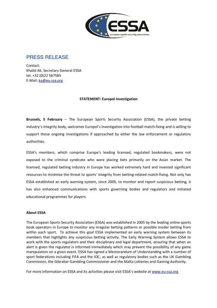 ESSA welcomes Europol's investigation into football match-fixing – 05/02/2013