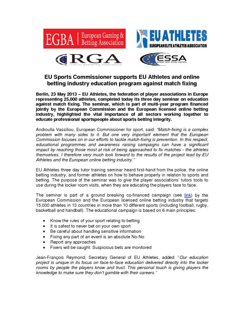 EU Commission supports EU athletes' education program – 23/05/2013