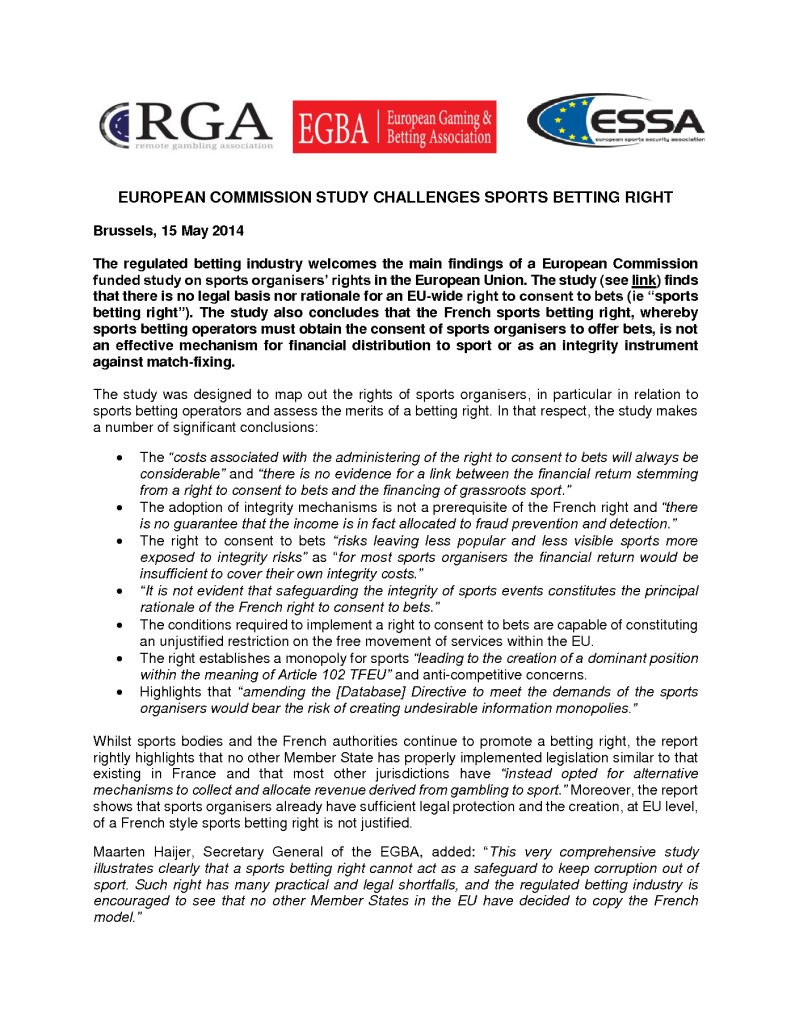 European Commission study challenges sports betting right – 15/05/2014