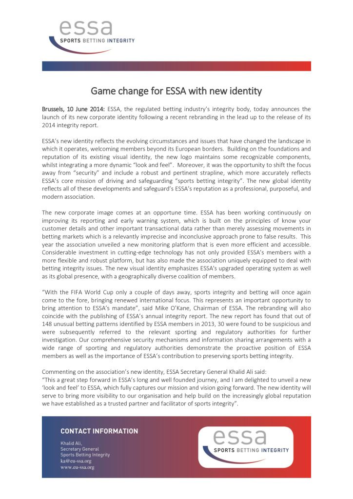 Game change for ESSA with new identity – 10/06/2014