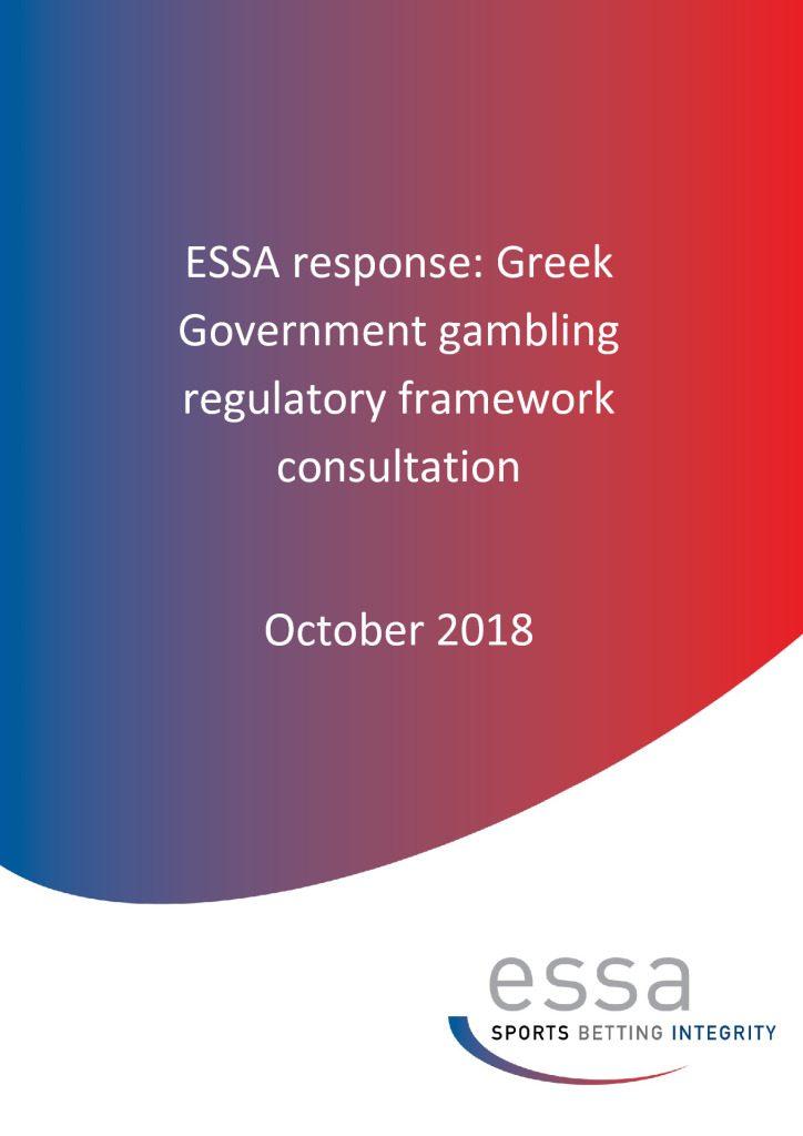 ESSA Response: Greek Government gambling regulatory framework consultation 10/2018