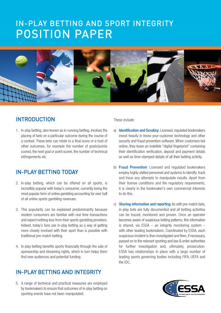 ESSA Position Paper on Sports Integrity