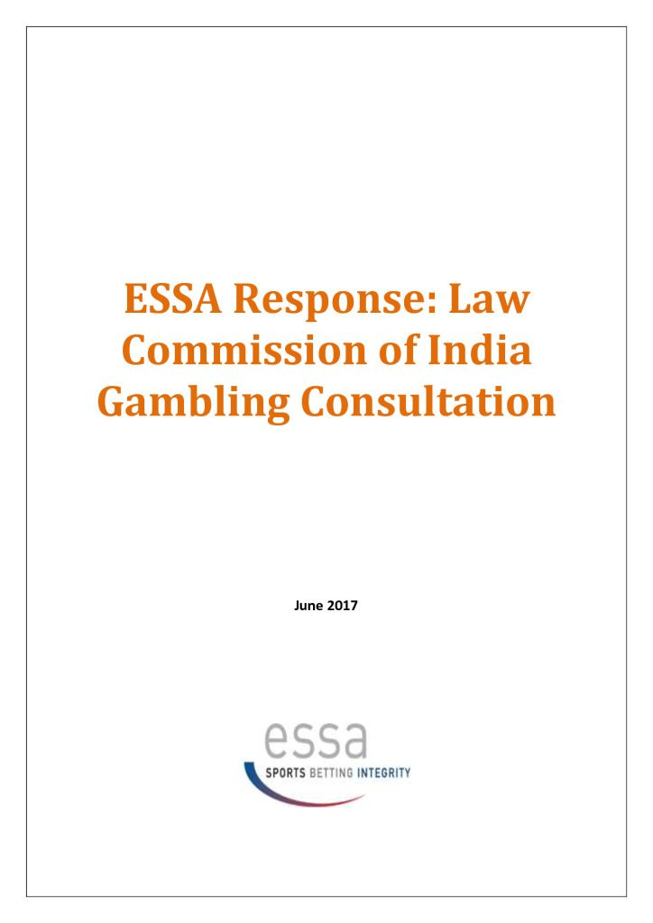 ESSA Response: Law Commission of India Gambling Consultation (6/2017)