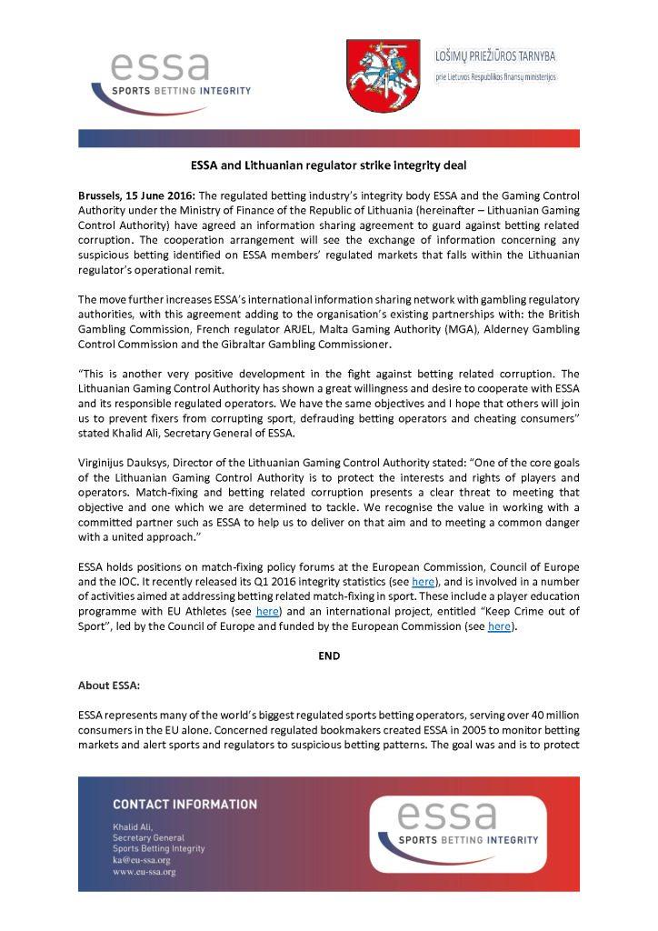 ESSA and Lithuanian regulator strike integrity deal – 15/06/2016