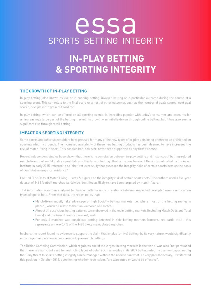 Match Fixing Factsheets