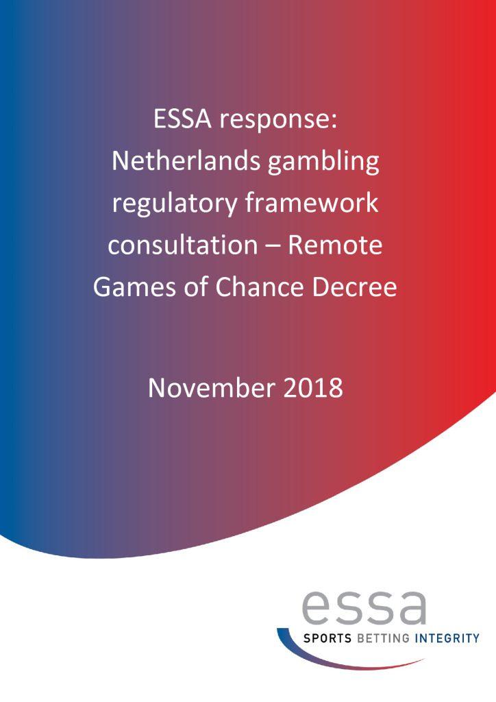 ESSA response: Netherlands gambling regulatory framework consultation – Remote Games of Chance Decree 11/2018