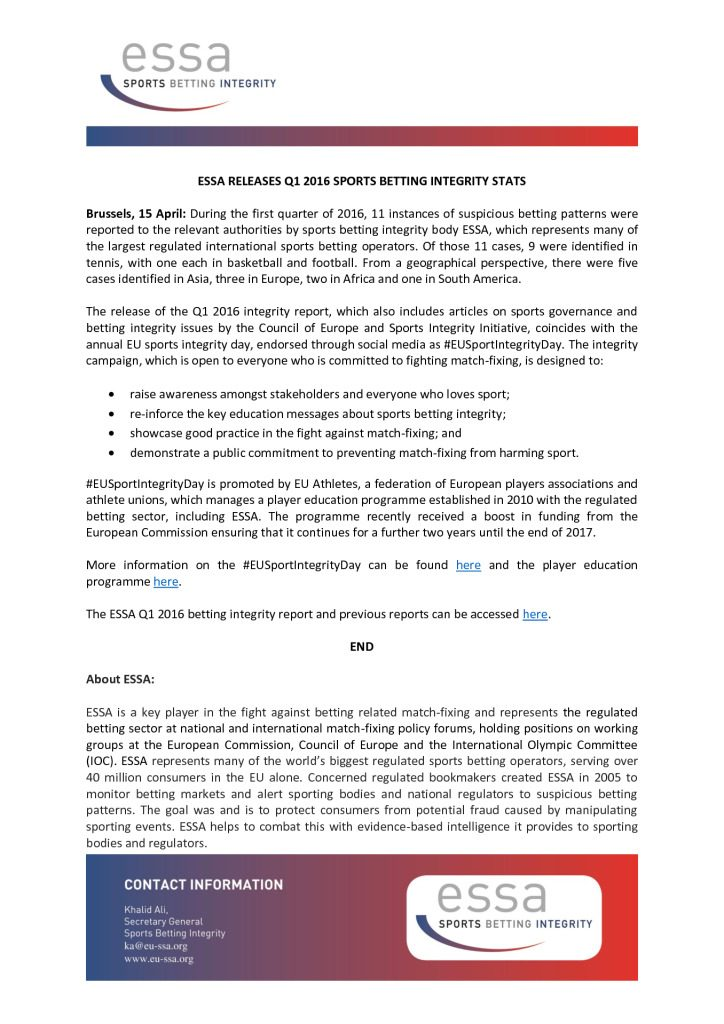ESSA Releases Q1 2016 Sports Betting Integrity Stats – 15/04/2016