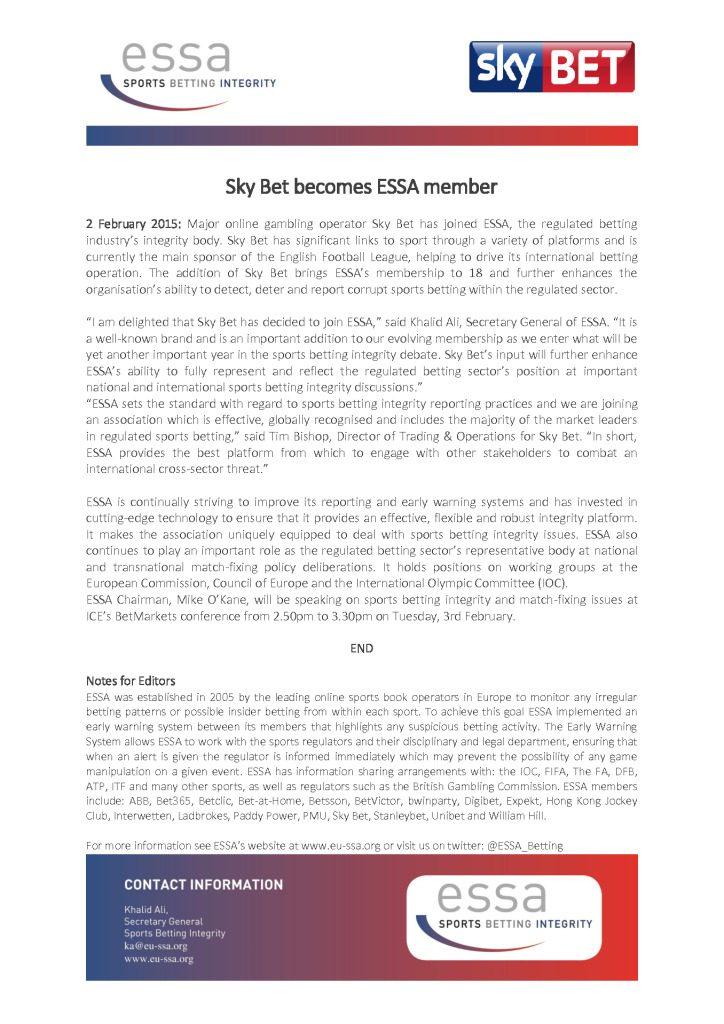 Sky Bet becomes ESSA member – 02/02/2015