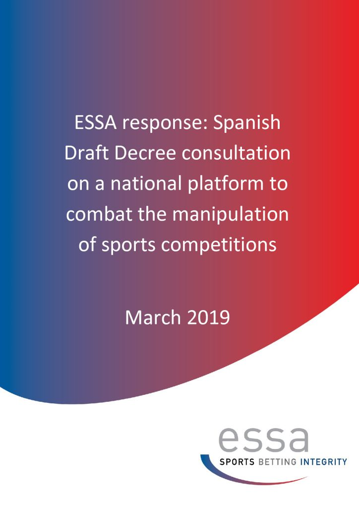 ESSA response: Spanish Draft Decree consultation on a national platform to combat the manipulation of sports competitions 8 March 2019