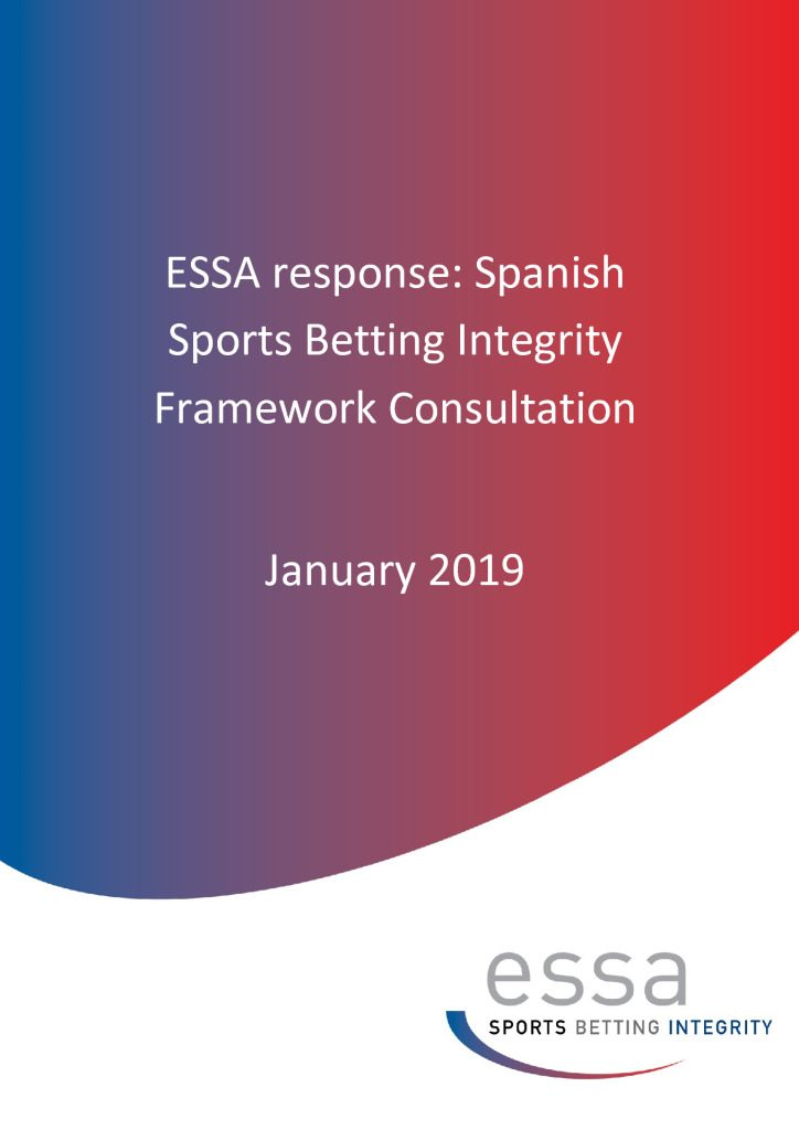 ESSA response: Spanish Sports Betting Integrity Framework Consultation 01/2019