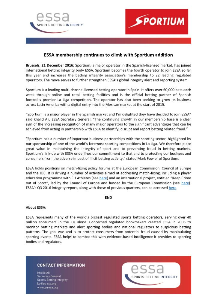 ESSA membership continues to climb with Sportium addition – 21/12/2016