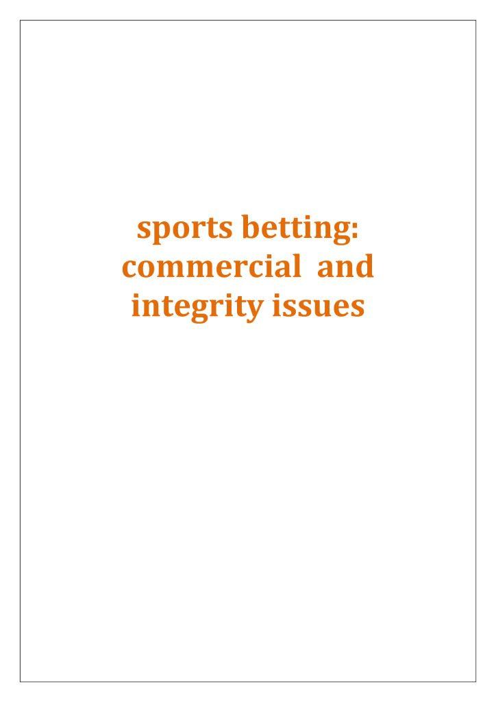 Sports Betting Report FINAL – 15/09/2014