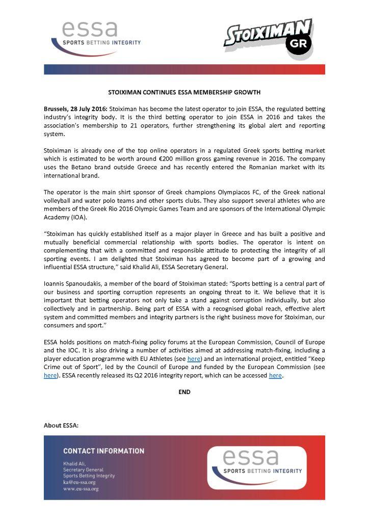Stoiximan continues ESSA membership growth – 28/07/2016