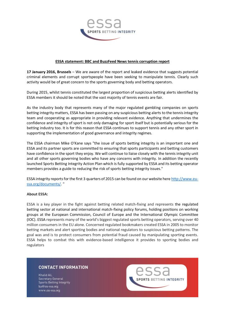 ESSA statement: BBC and BuzzFeed News tennis corruption report – 17/01/2016