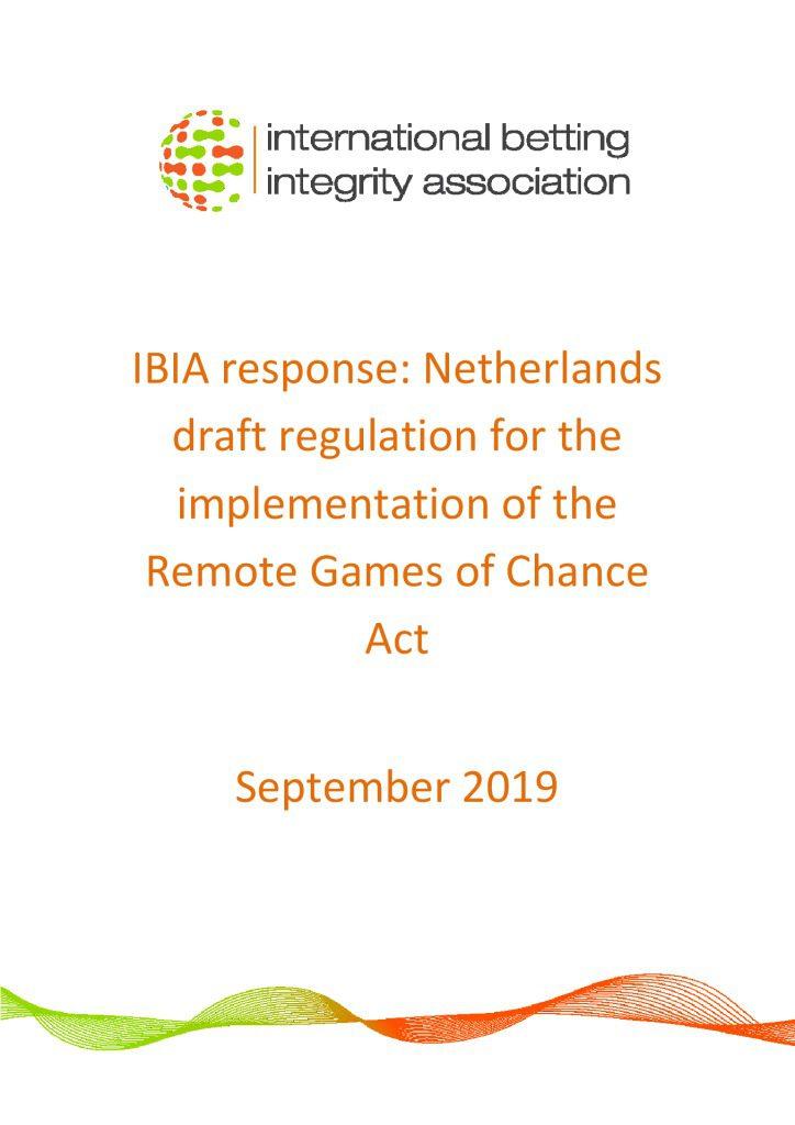 IBIA response – Netherlands regulations September 2019 FINAL