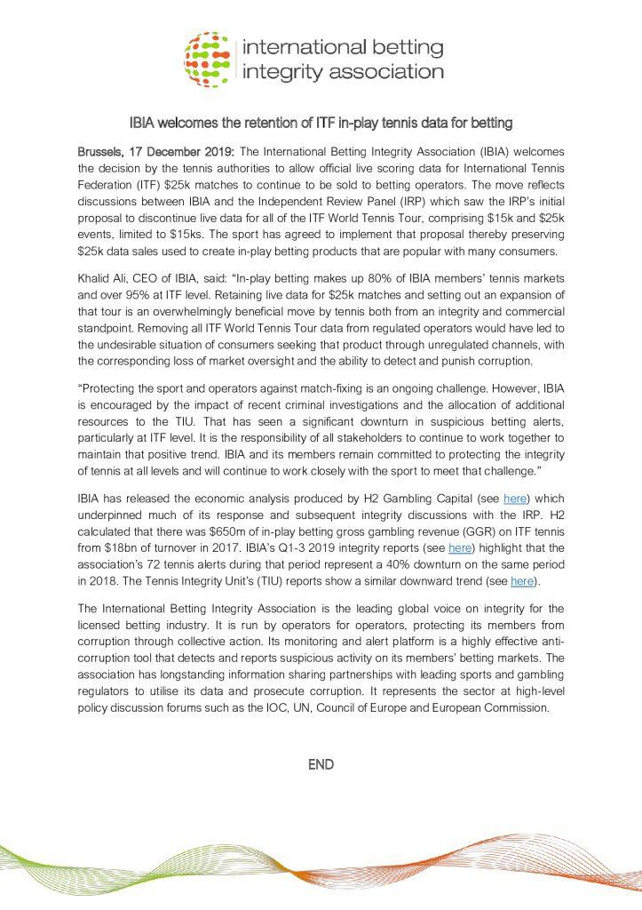 IBIA tennis data statement December 2019